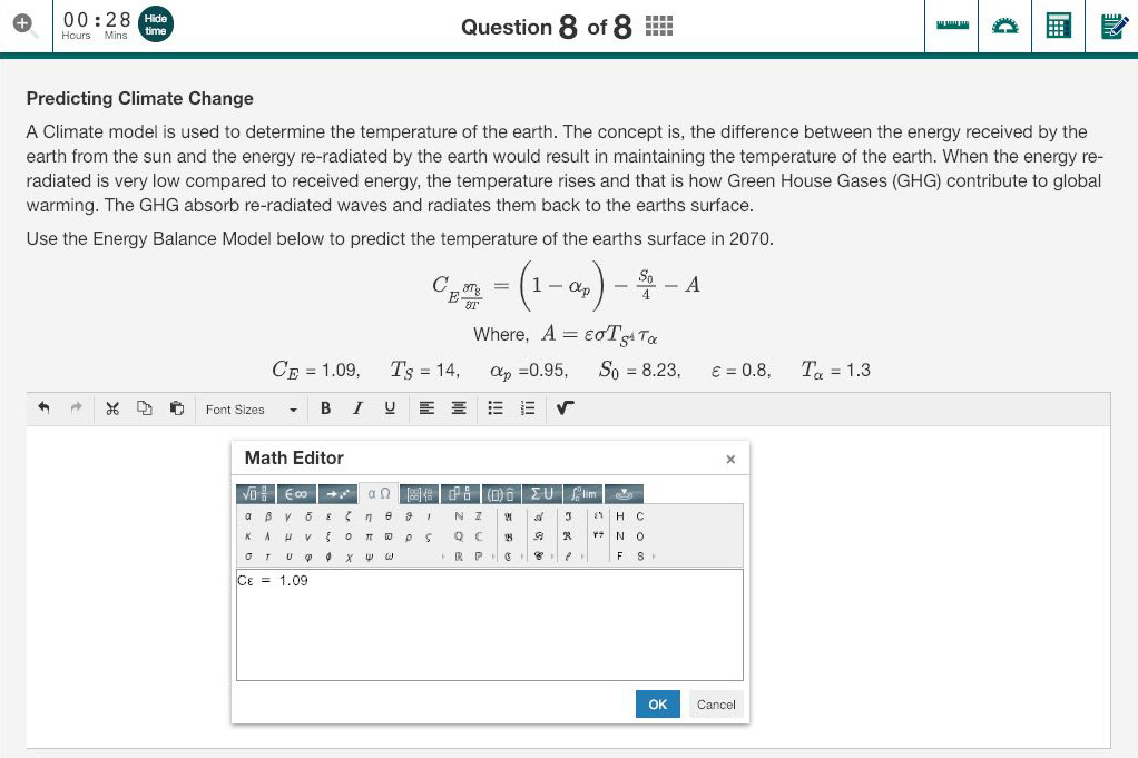 University Maths online assessment